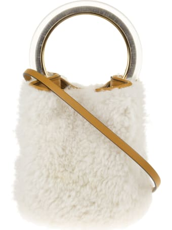 Marni White Shearling Pannier Bag