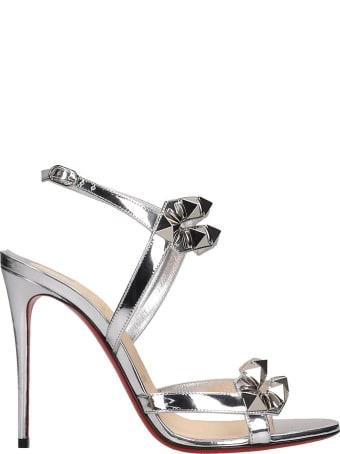 Christian Louboutin Galerietta 100 Sandals In Silver Leather