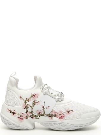 Roger Vivier Viv Run Strass Flower Print Sneakers