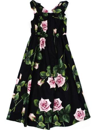 Dolce & Gabbana Poplin Tracksuit Wth Tropical Rose Print