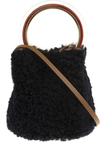 Marni Black Lamb Fur Pannier Fur Bucket Bag