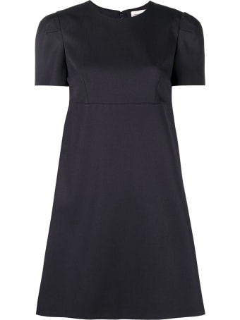 Alexander McQueen Blue Wool Dress With Short Puff Sleeves