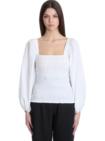 Ganni Topwear In White Cotton
