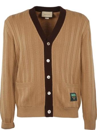 Gucci Ribbed Knit V-neck Cardigan