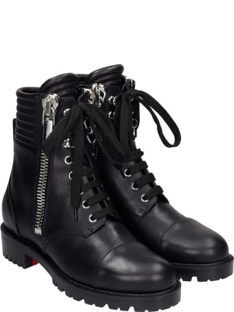 Christian Louboutin En Hiver Combat Boots In Black Leather