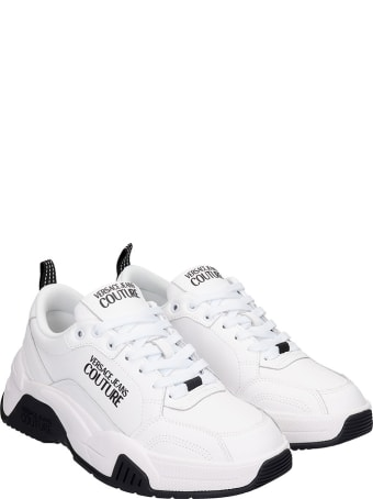 Versace Jeans Couture Sneakers In White Leather