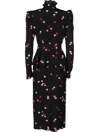 Alessandra Rich Black Silk Dress