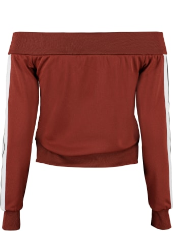 Palm Angels Off-shoulder Full-zip Sweatshirt