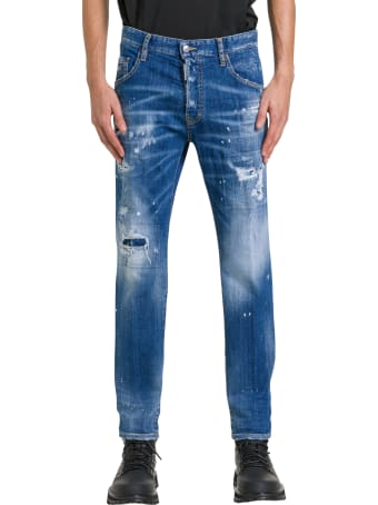 Dsquared2 Straight Jeans With Dripping Effect