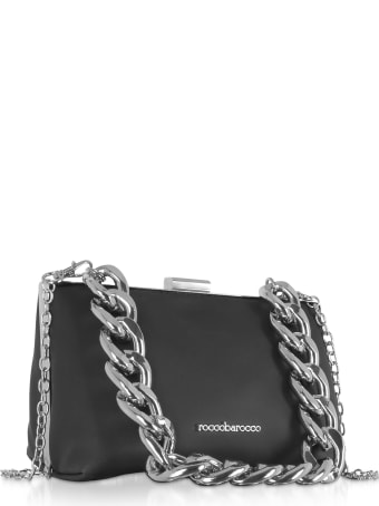 Roccobarocco Pita Black Matte Eco-leather Shoulder Bag