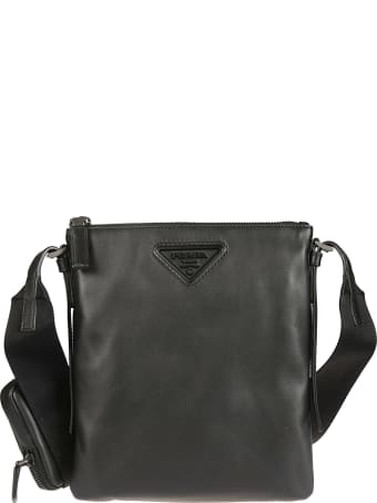 Prada Triangle Logo Patch Top Zip Shoulder Bag