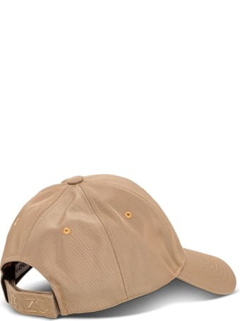 Kenzo Beige Hat With Tiger Embroidery
