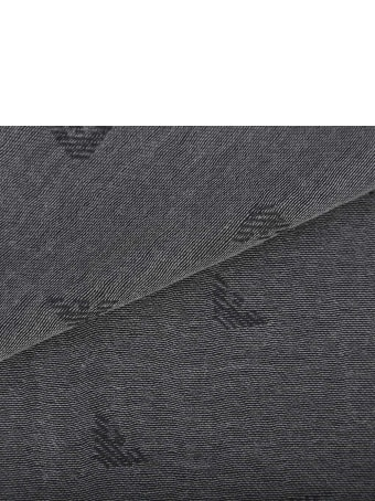 Emporio Armani Monogram Scarf In Cotton Blend