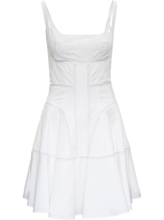 Giovanni Bedin White Cotton Dress With Perforated Inserts