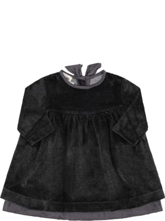 """Caffe' d'Orzo Grey """"enza"""" Dress For Babygirl With Bow"""