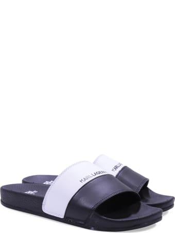 Karl Lagerfeld Black Rubber Slide Sandals