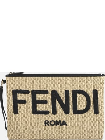 Fendi Clutch Bag In Woven Raffia With Contrasting Logo Lettering