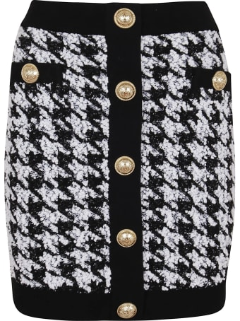 Balmain Short Houndstooth Tweed Skirt