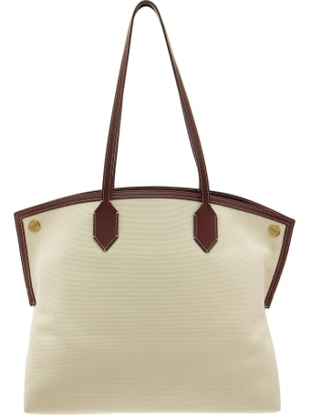 Burberry Medium Logo Graphic Cotton Canvas Society Tote Natural/garnet