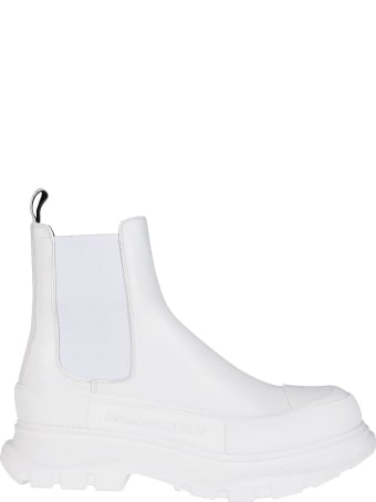 Alexander McQueen White Leather Chelsea Boots