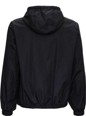 Valentino Vltn Multicolor Windbreaker In Black Nylon