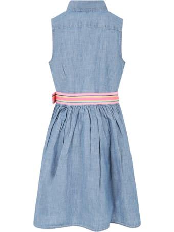 Ralph Lauren Light Blue Dress For Girl With Pony Logo