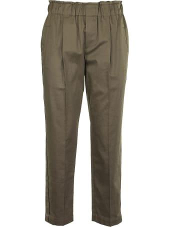 Brunello Cucinelli Cotton Twill Pull-on Fluid Cigarette Trousers With Shiny Stripes Cotton