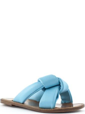 Silvano Sassetti Light Blue Leather Low Sandals