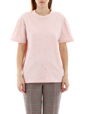Miu Miu T-shirt With Decorative Crystals
