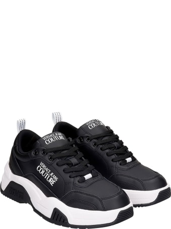 Versace Jeans Couture Sneakers In Black Leather