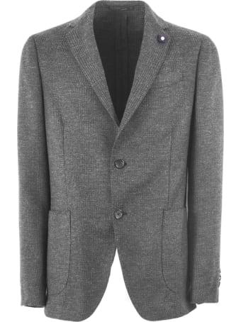 Lardini Grey Wool Blend Single Breasted Blazer