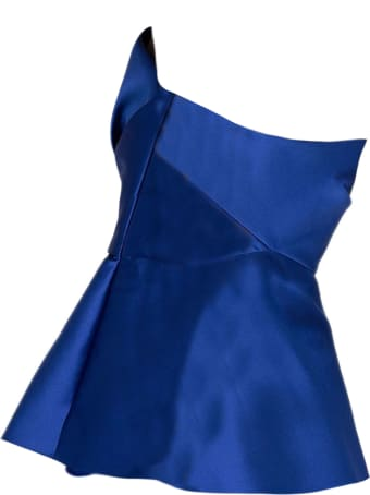 Alberta Ferretti Blue Silk-blend Bodice Top