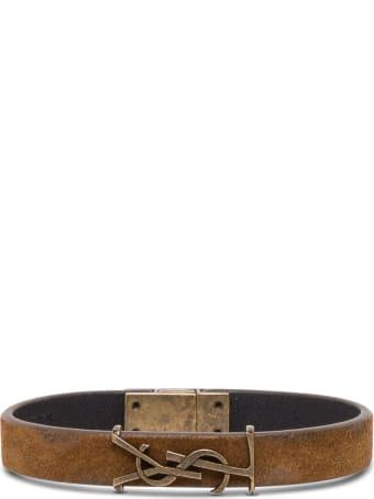 Saint Laurent Suede Leather Bracelet With Logo