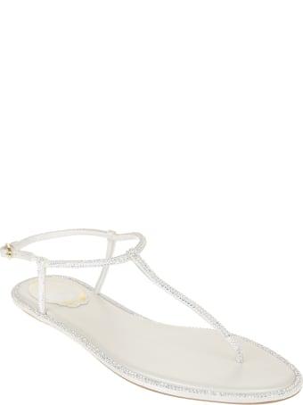 René Caovilla White Diana Elegant Thong Sandal