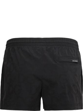 Dolce & Gabbana Black Beach Shorts With Logo