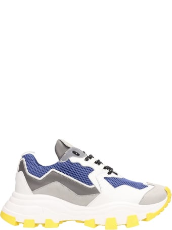 Cinzia Araia White And Blue Technical Fabric Big Running Sneakers