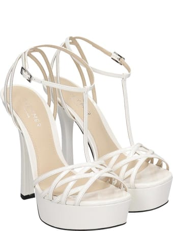 Grey Mer Sandals In White Patent Leather
