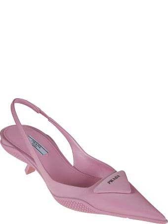 Prada Pink Slingback Logo Pumps