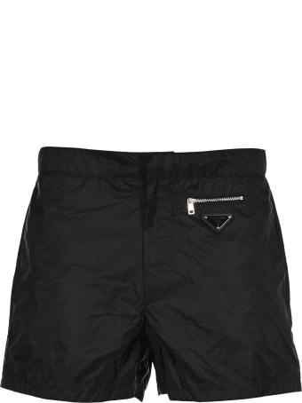 Prada Logo Plaque Swim Shorts