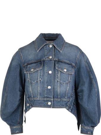 Alexander McQueen Woman Denim Jacket With Blouse Sleeves