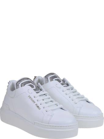 Philipp Plein Lo-top Statement Sneakers In White Leather