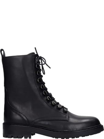 Lola Cruz Combat Boots In Black Leather
