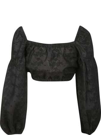 Les Coyotes De Paris Embellished Balloon-sleeved Cropped Top