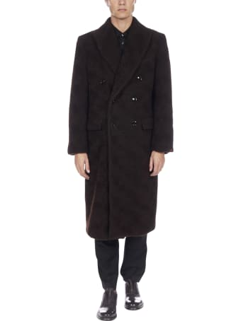MP Massimo Piombo Double-breasted Wool-teddy Coat