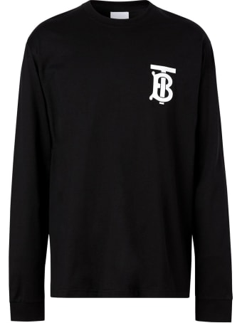 Burberry Jerseyy Long Sleeve Tee With Monogram Print