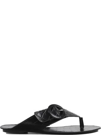Definery Black Loop Thong Sandals