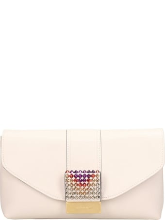 Visone White Leather Giselle Clutch Bag