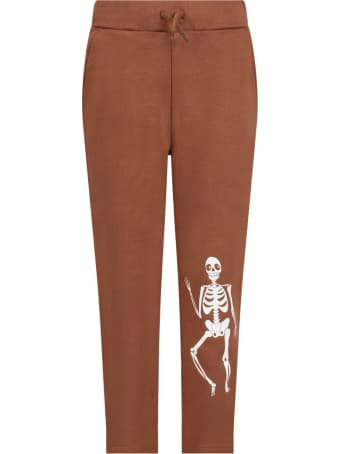 Mini Rodini Brown Kids Sweatpants With White Skeleton