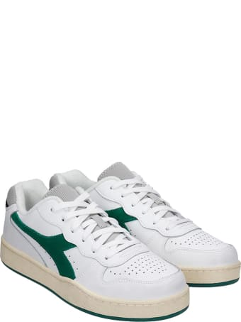 Diadora Mi Basket Low Sneakers In White Green Leather