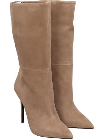Grey Mer High Heels Ankle Boots In Beige Suede